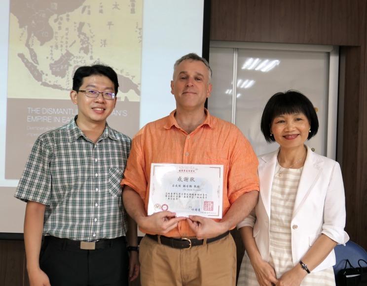 Prof. Barak Kushner with Dr. Liyuan Chen, and Deputy Dir Wei-hung Kao 06102017
